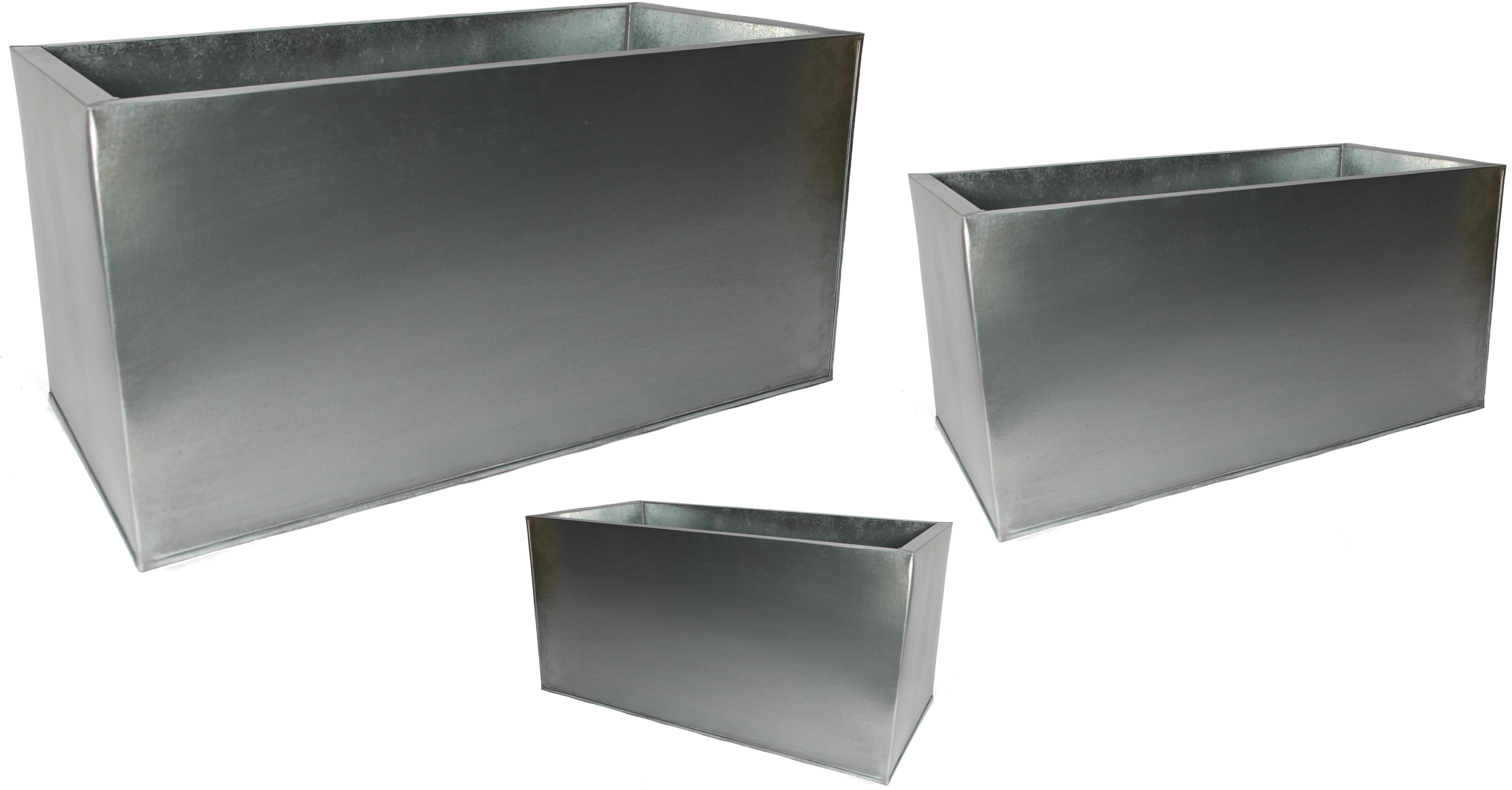 Pflanztrog Metall Zink silber 3er Set | Mandelu